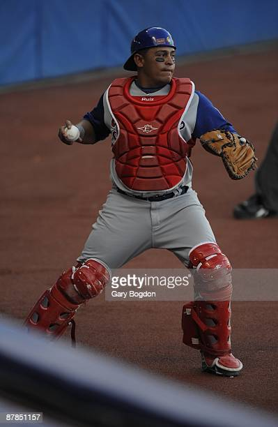 Panama's catcher Carlos Ruiz catches a pop fly behind the plate during the Pool D game three between the Dominican Republic and Panama during the the...