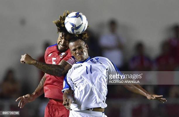 Panama's defender Roman Torres vies for the ball with Honduras' Rony Martinez during a FIFA World Cup Russia 2018 Concacaf qualifier match in Panama...