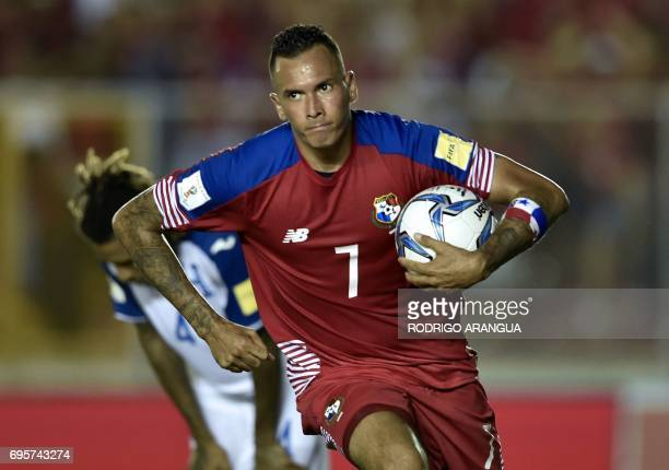 Panama's forward Blas Perez celebrates after scoring against Honduras during a FIFA World Cup Russia 2018 Concacaf qualifier match in Panama City on...