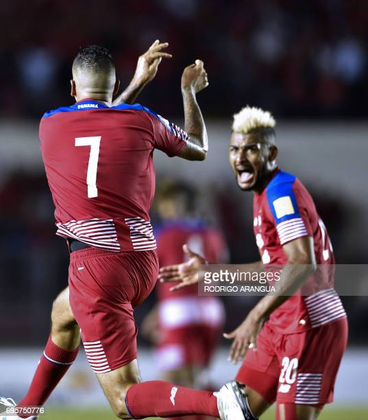 Panama's forward Blas Perez celebrates with Panama's midfielder Anibal Godoy after scoring against Honduras during a FIFA World Cup Russia 2018...