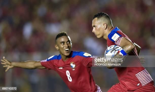 Panama's forward Blas Perez celebrates with Panama's midfielder Edgar Barcenas after scoring against Honduras during a FIFA World Cup Russia 2018...