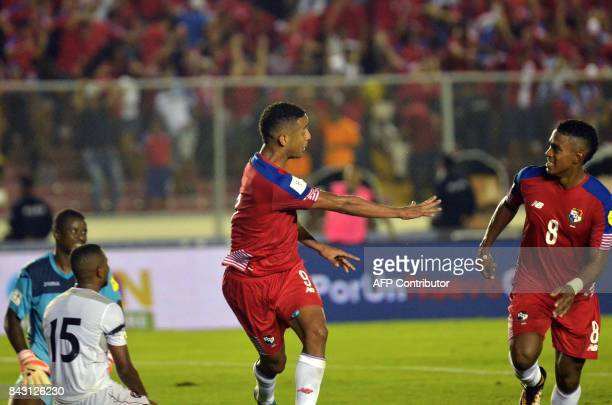 Panama's Gabriel Torres celebrates with Panama's Edgar Barcenas after scoring against Trinidad and Tobago during their 2018 World Cup football...