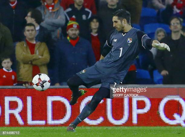 Panama's goalkeeper Jaime Penedo controls the ball during the international friendly football match between Wales and Panama at Cardiff City Stadium...