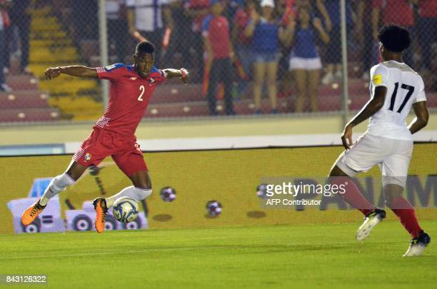 Panama's Michael Amir Murillo and Trinidad and Tobago's Mekeil Williams vie for the ball during their 2018 World Cup qualifier football match in...