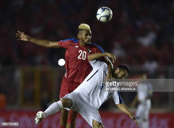 Panama's midfielder Anibal Godoy and Honduras' Alfredo Mejia jump for the ball during a FIFA World Cup Russia 2018 Concacaf qualifier match in Panama...