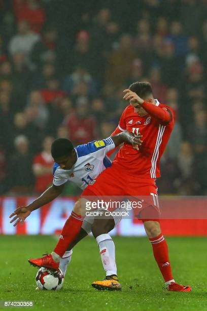Panama's midfielder Armando Cooper vies with Wales' striker Tom Lawrence during the international friendly football match between Wales and Panama at...