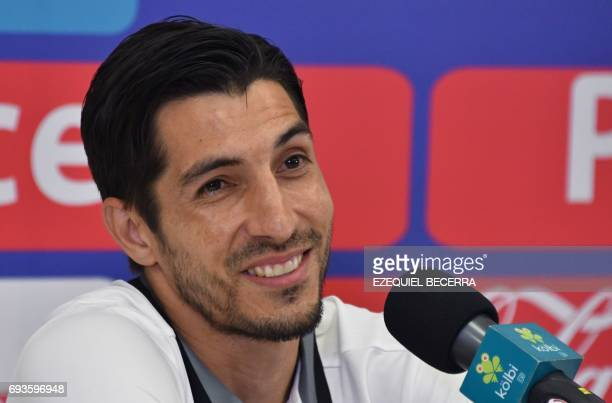 Panamas national football team goalkeeper Jaime Penedo takes part in a press conference at the National Stadium in San Jose on June 7 2017 on the eve...