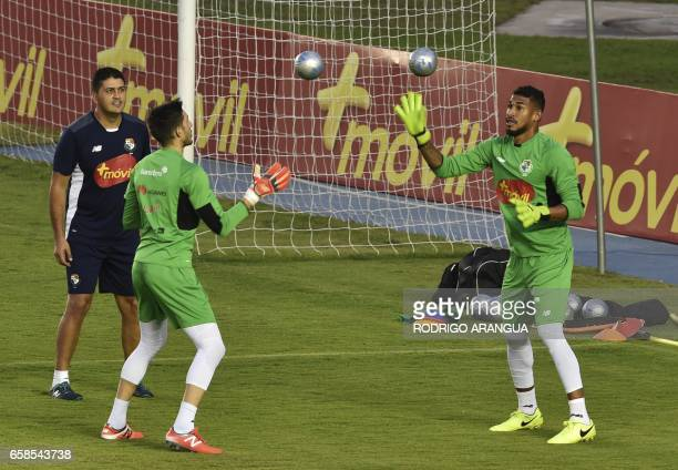 Panama's national football team goalkeepers Jaime Penedo and Jose Calderon take part in a training session at the Rommel Fernandez stadium in Panama...