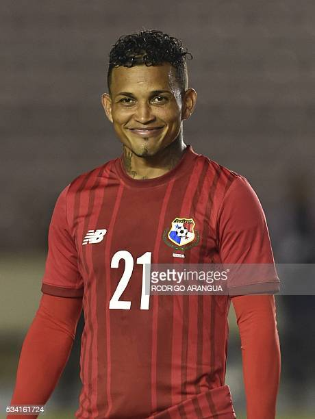 Panama's player Amilcar Henriquez poses for pictures before the start of the friendly match against Venezuela at the Rommel Fernandez stadium in...
