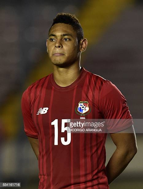 Panama's player Ismael Diaz poses for pictures before the start of the friendly match against Venezuela at the Rommel Fernandez stadium in Panama...