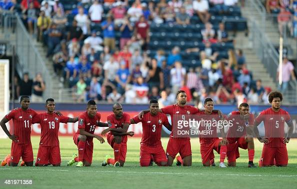 Panama's players watch in the shoot out during the 2015 CONCACAF Gold Cup third place match between the USA and Panama July 25 2015 in Chester...