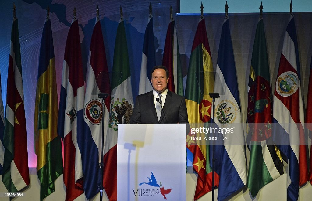 Panama's President <a gi-track='captionPersonalityLinkClicked' href=/galleries/search?phrase=Juan+Carlos+Varela&family=editorial&specificpeople=5906542 ng-click='$event.stopPropagation()'>Juan Carlos Varela</a> delivers a speech during the Civil Society and Social Actors Forum in the framework of the VII Summit of the Americas to take place next April 10 and 11, in Panama City, on April 8, 2015. AFP PHOTO / RAUL ARBOLEDA