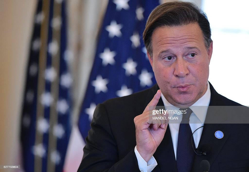 Panama's President Juan Carlos Varela delivers keynote address at a luncheon during the Washington Conference on the Americas at the State Department on May 3, 2016 in Washington, DC. / AFP / Mandel NGAN