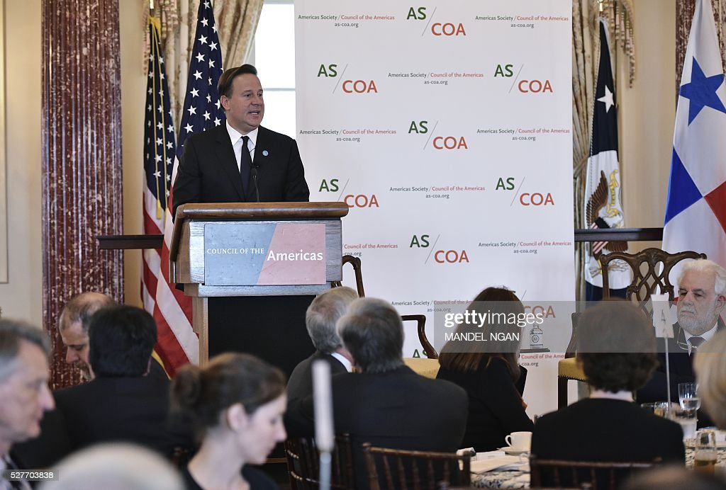 Panama's President Juan Carlos Varela delivers keynote address at a luncheon during the Washington Conference on the Americas at the State Department on May 3, 2016 in Washington, DC. / AFP / MANDEL