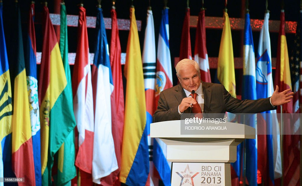 Panama's President Ricardo Martinelli delivers a speech during the inauguration session of the Inter-American Developpment Bank (IDB) Annual Governors Meeting in Panama City, on March 16, 2013. The Annual Meeting is taking place in Panama City from March 14 to 17. AFP PHOTO/Rodrigo ARANGUA
