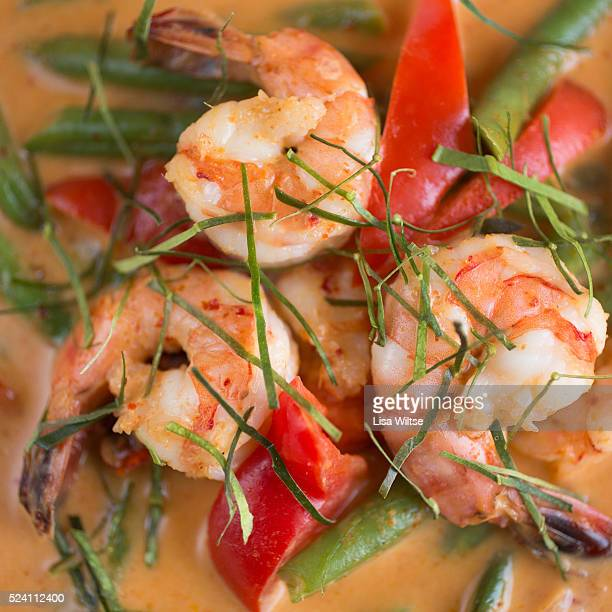 Panang Curry with shrimp A rich thick panang paste cooked in coconut milk with string beans and bell pepper Photo by Lisa Wiltse
