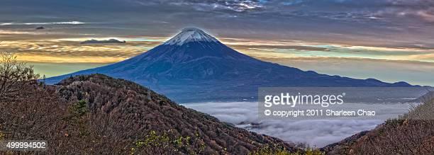 Pananorama shot of sunrise at Mt. Fuji