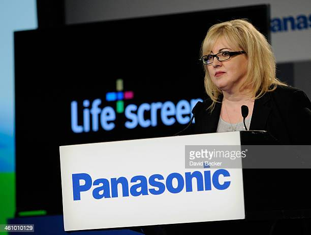 Panasonic Consumer Electronics Corporation President Julie Bauer speaks during at press event at the Mandalay Bay Convention Center for the 2014...