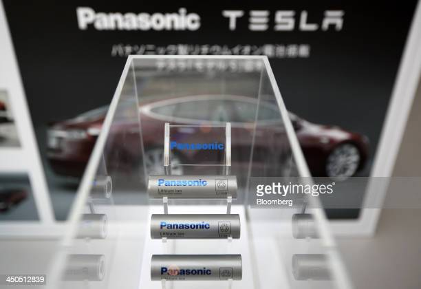 Panasonic Corp lithiumion batteries manufactured for Tesla Motors Inc Model S electric vehicles are displayed at Panasonic Center Tokyo in Tokyo...