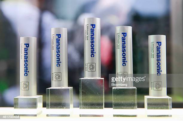 Panasonic Corp lithiumion rechargeable batteries are displayed during the 2015 Consumer Electronics Show in Las Vegas Nevada US on Thursday Jan 8...
