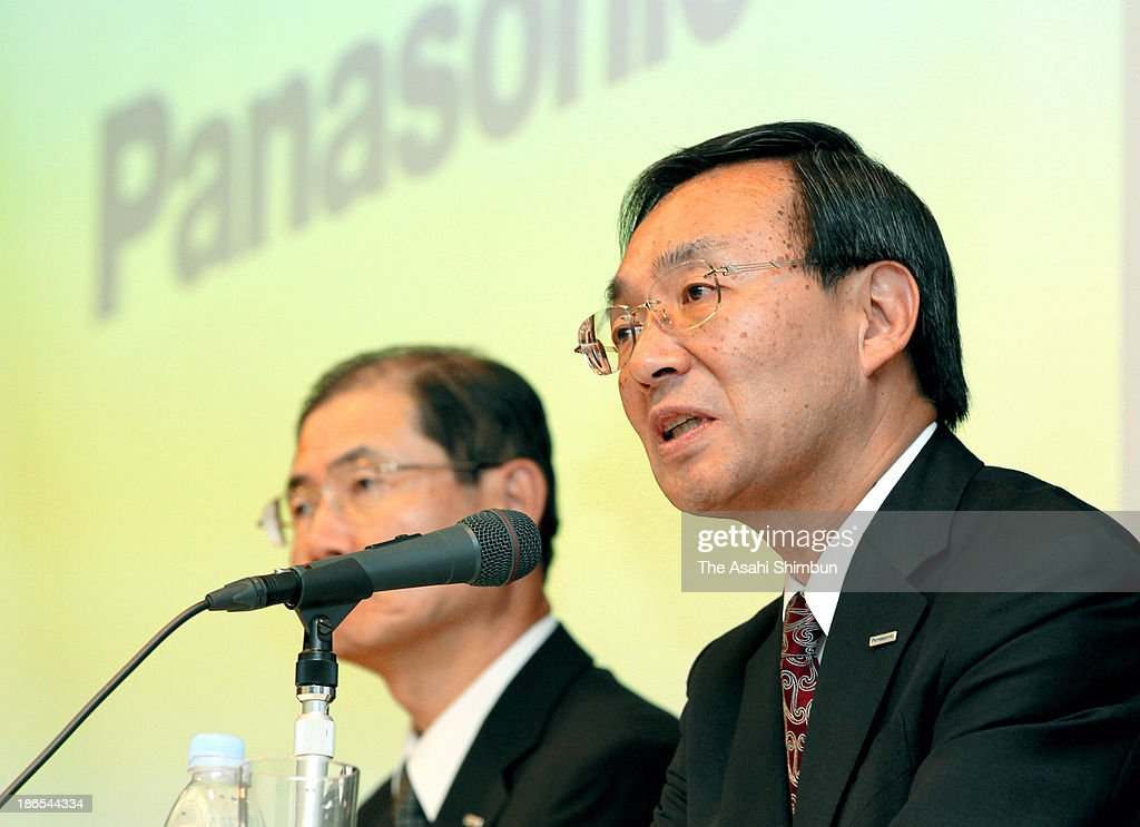 Panasonic Corp President Kazuhiro Tsuga speaks during a press conference on October 31, 2013 in Tokyo, Japan. Panasonic said its quarterly profit improved to 63.3 billion yen from a 698.6 billion yen loss the year before, and officially annouces its withdrawal from the plasma display panel television.