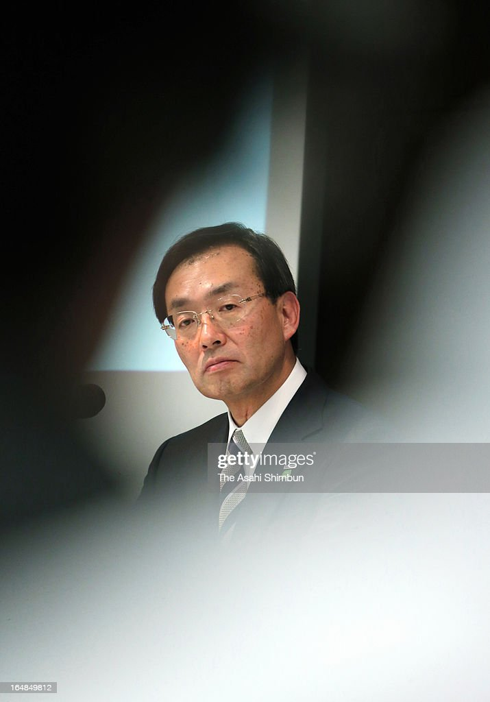 Panasonic Corp President Kazuhiro Tsuga speaks during a press conference on their mid term business plan on March 25, 2013 in Tokyo, Japan.