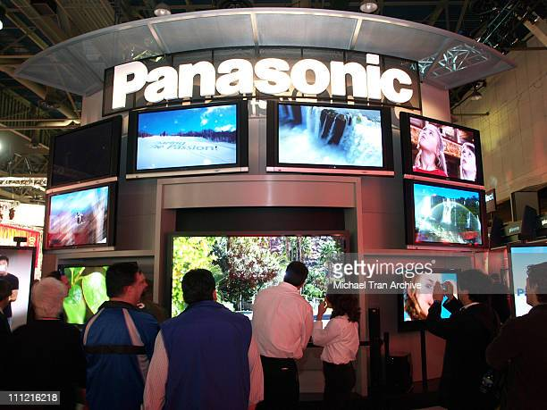 Panasonic Electronics booth during 2006 Consumer Electronic Show January 6 2006 at Las Vegas Convention Center in Las Vegas Nevada United States