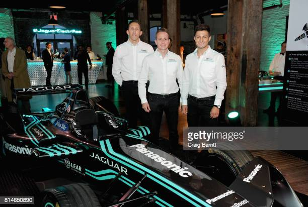 Panasonic Jaguar Racing members James Barclay Adam Carroll and Mitch Evans attend the Jaguar Formula E RECharge Event at The Liberty Warehouse on...