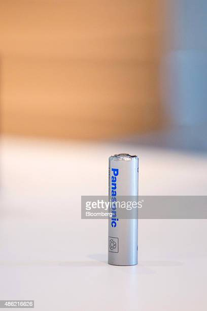 A Panasonic lithium ion battery sits at the Panasonic Corp exhibition stand ahead of the IFA International Consumer Electronics Show in Berlin...