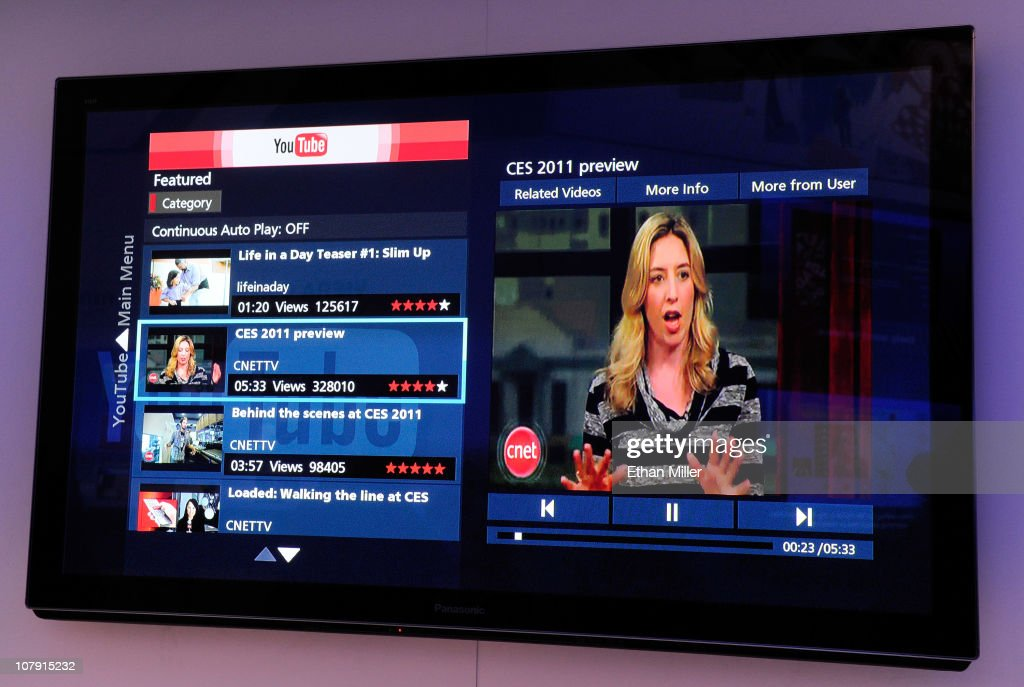 A Panasonic TC-P50VT30 3-D HD television featuring Viera Connect, Panasonic's Internet television service, displays YouTube content at the 2011 International Consumer Electronics Show at the Las Vegas Convention Center January 6, 2011 in Las Vegas, Nevada. Users can download applications and have access to music, sports, games and social networking on the television. CES, the world's largest annual consumer technology trade show, runs through January 9 and is expected to feature 2,700 exhibitors showing off their latest products and services to about 126,000 attendees.