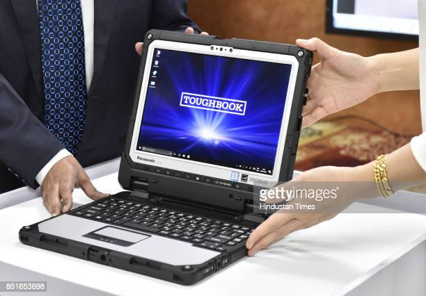 Panasonic Toughbook CF33 during its launch on September 22 2017 in Gurgaon India It is touted as the world's first with an aspect ratio of 32 and is...