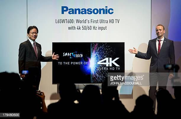 Panasonic's Managing Director AVC Yoshiyuki Miyabe and Markus Wagenseil manager product marketing TV group Panasonic Europe present a Smart Viera 4K...