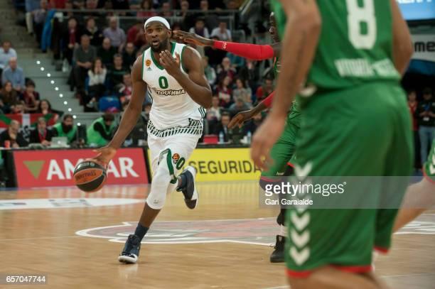 Panathinaiko's American center Chris Singleton #0 handles the ball during the Turkish Airlines Euroleague Basketball Regular Season Round 28th game...