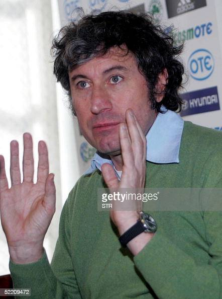 Panathinaikos Athens football team's new coach Italian Alberto Malesani gestures during a press conference at the club's training ground in Peania 17...