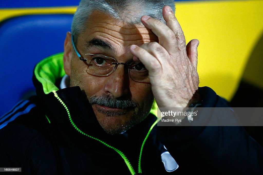 Panathinaikos coach Fabriciano Gonzalez is seen ahead of the Superleague match between Asteras Tripolis and Panathinaikos FC at Asteras Tripolis Stadium on February 2, 2013 in Tripolis, Greece.