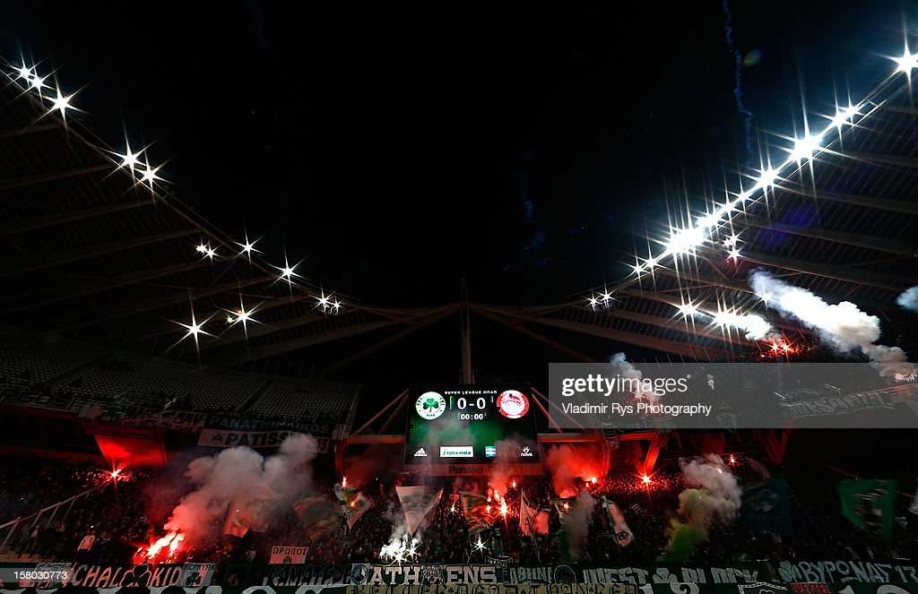 Panathinaikos fans are pictured during the Superleague match between Panathinaikos FC and Olympiacos Piraeus at OAKA Stadium on December 9, 2012 in Athens, Greece.