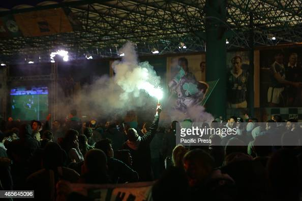 STADIUM ATHENS ATTICA GREECE Panathinaikos fans have light some flares to celebrate outside their home stadium Fans of Greek football club...