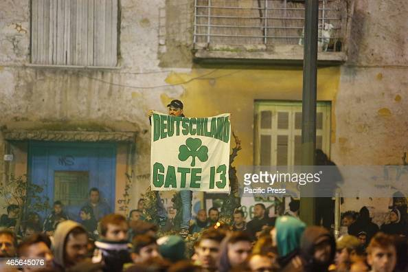 STADIUM ATHENS ATTICA GREECE Panathinaikos fans holds a banner that reads 'Germany Gate 13' Gate 13 is the Ulta group of the club Fans of Greek...