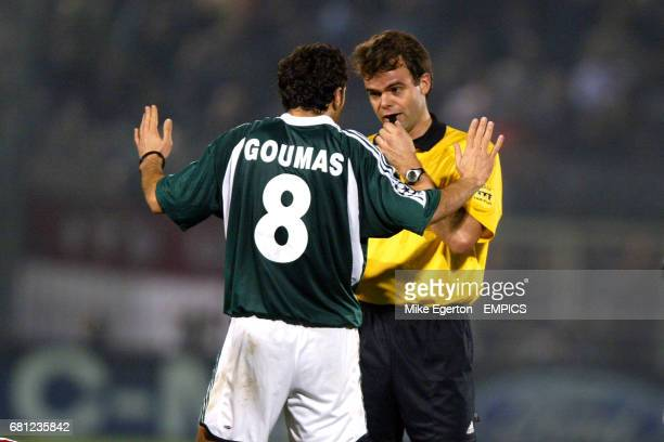Panathinaikos' Giannis Goumas pleads his innocence to referee Jan Wegereef