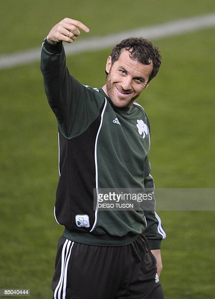 Panathinaikos' Ioannis Goumas gestures during a training session at Madrigal Stadium in Villarreal on February 24 2009 on the eve of their match...