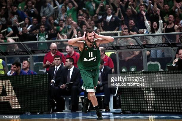 Panathinaikos' Nikos Pappas reacts during the Euroleague playoff basketball match between Panathinaikos and CSKA Moscow in Athens on April 20 2015...