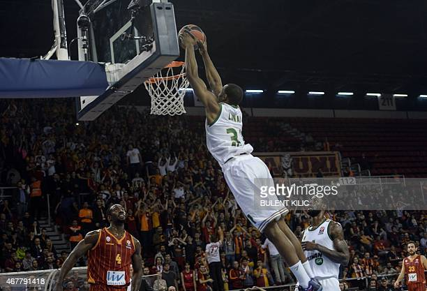 Panathinaikos's Gani Jawal dunks against Galatasaray during the Euroleague group E baskeball match between Panathinaikos and Galatasaray on March 27...