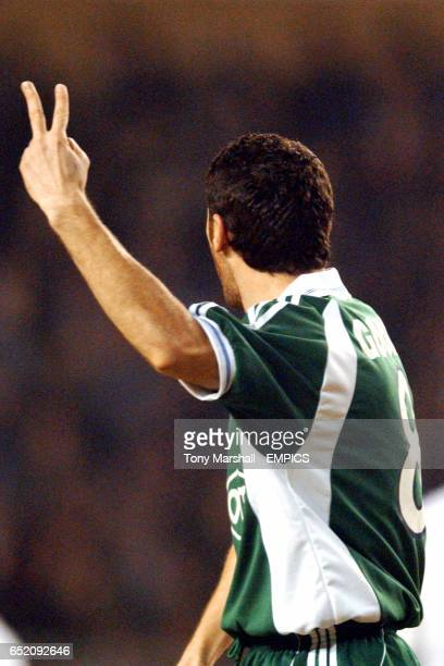 Panathinaikos's Ioannis Goumas gestures towards the refeee