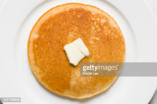 Pancake and butter on plate