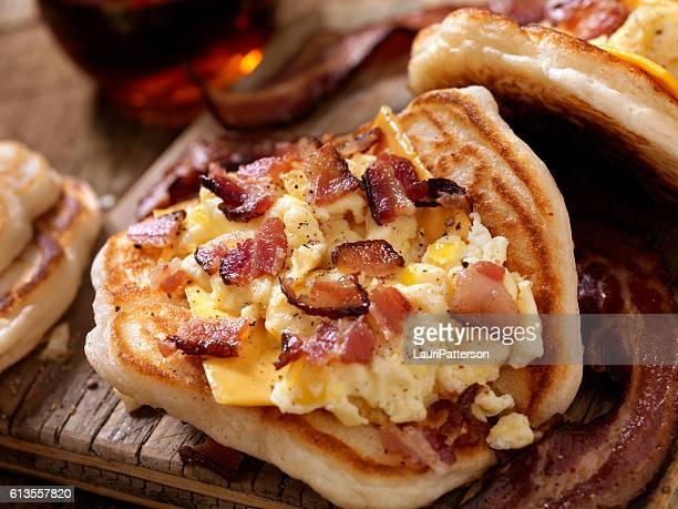 Pancake Breakfast Taco with Scrambled Eggs, Bacon and Cheese