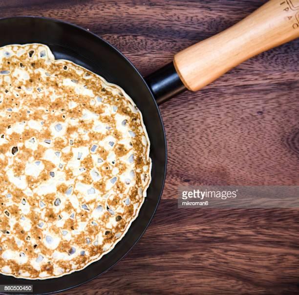 Pancake in frying pan, Breakfast ----  naleśniki