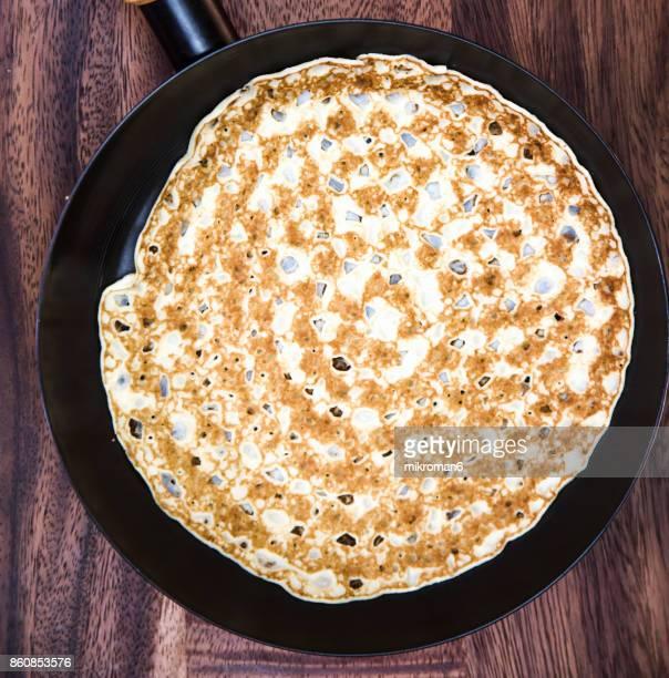 Pancake on fried pan, Breakfast