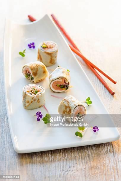 Pancake rolls with sushi
