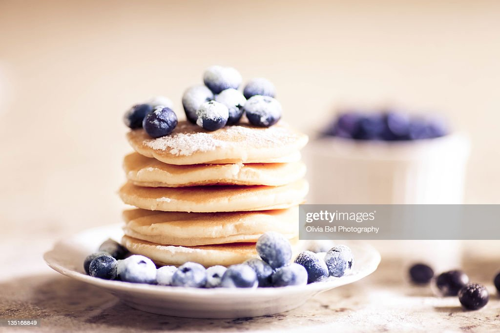 Pancake tuesday with blueberries : Stock Photo