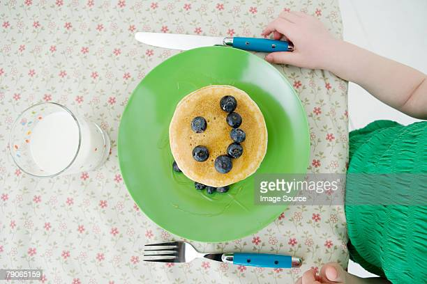 A pancake with a smiley face